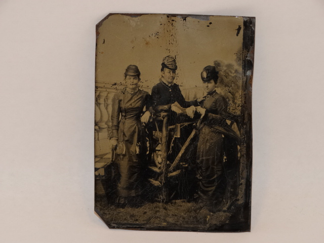 Tintype Photo Women Standing and Seated 1800s