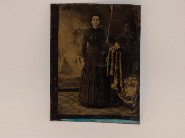 Tintype Photo Standing Woman 1800s
