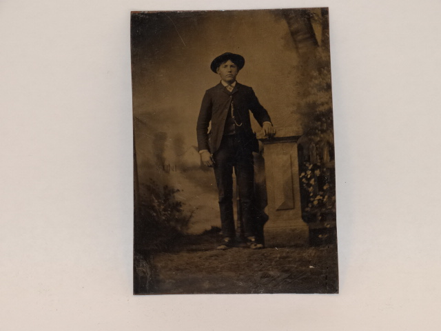 Tintype Photo Standing Man 1800s