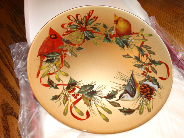 Lenox Winter Greetings Decoupage Round Platter in Box