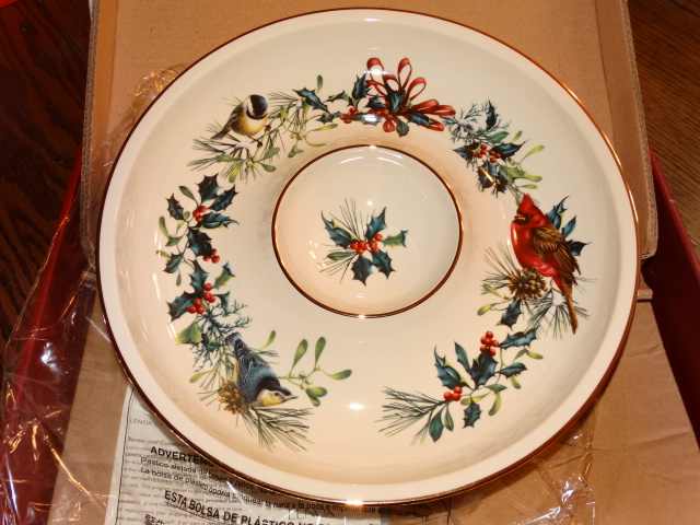 Lenox Winter Greetings Chip and Dip Bowl NIB