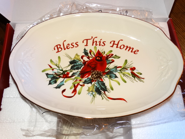 Lenox winter greetings bless this home tray new in box m4hsunfo
