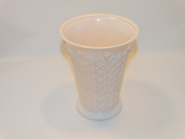 Jeannette Pink Milk Glass Vase, Jeannette Glass Co., ca 1957
