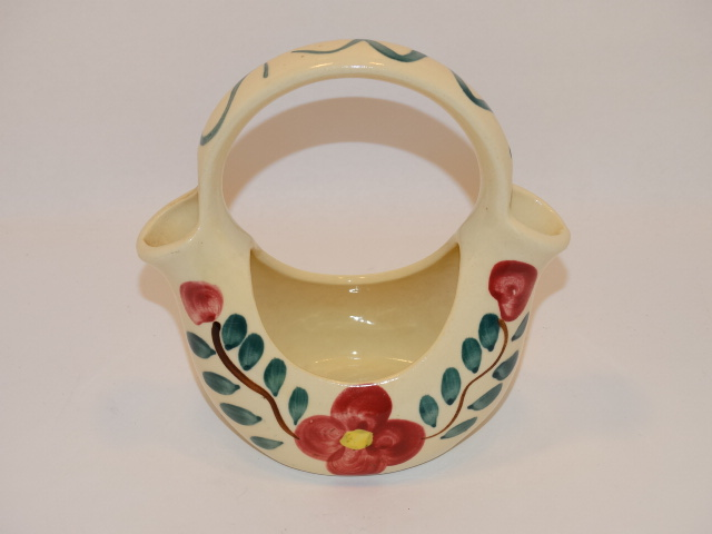 Image 2 of Purinton Pottery Basket Planter Red Blossom