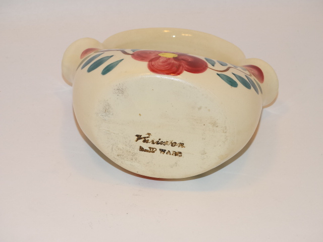 Image 5 of Purinton Pottery Basket Planter Red Blossom