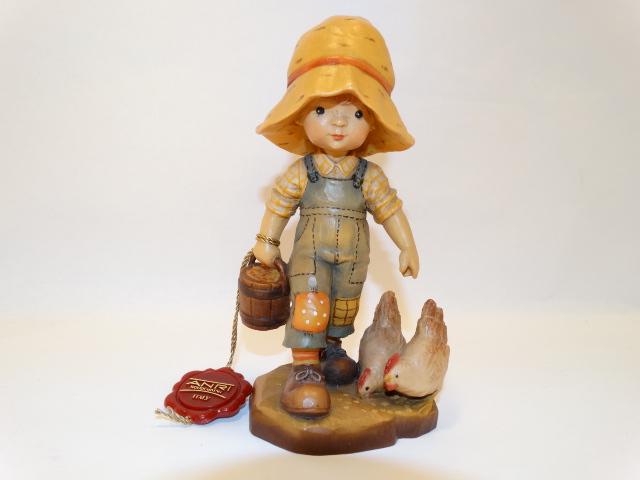 Image 4 of Anri Sarah Kay Girl With Chickens Wood