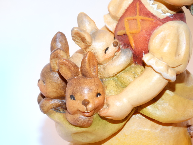 Image 5 of Anri Ferrandiz Girl With Bunnies Wood