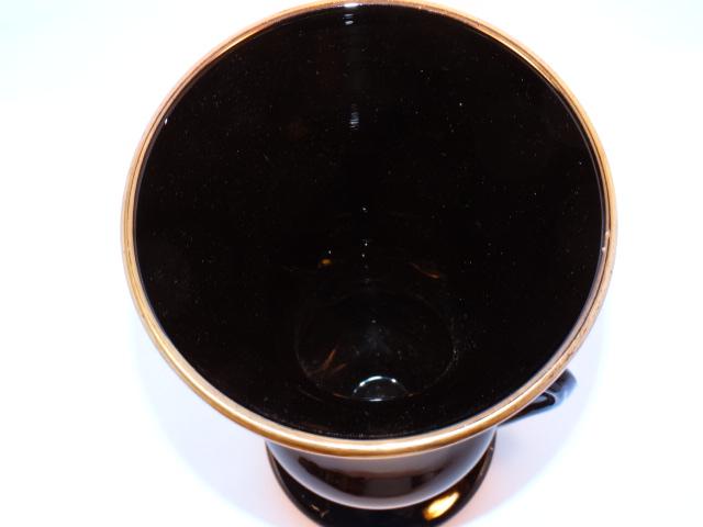 Image 4 of Black Amethyst Glass Vase Vintage