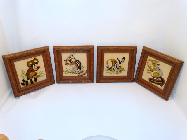 Folk Art Vintage Embroidery Animals Carved Frames