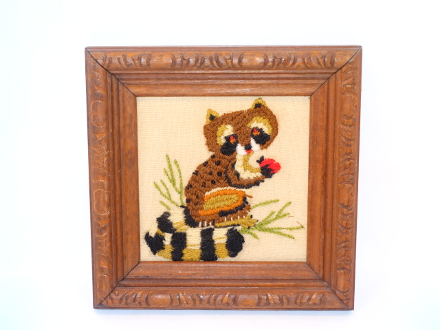 Image 1 of Folk Art Vintage Embroidery Animals Carved Frames