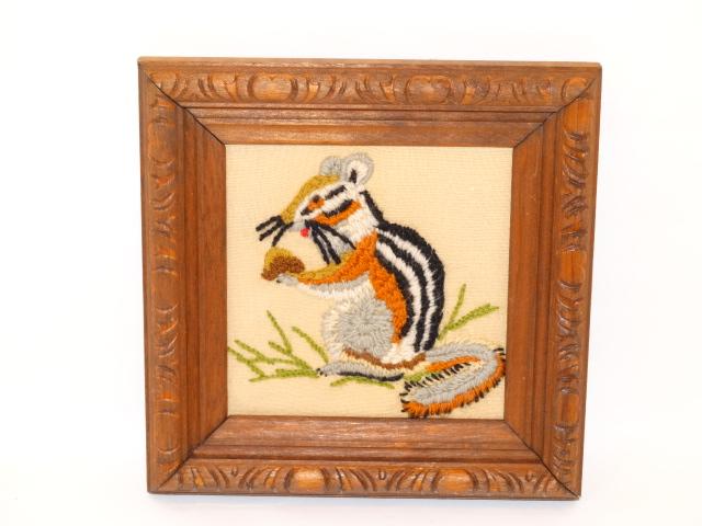Image 2 of Folk Art Vintage Embroidery Animals Carved Frames