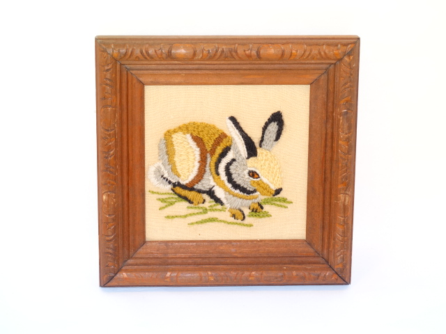 Image 3 of Folk Art Vintage Embroidery Animals Carved Frames