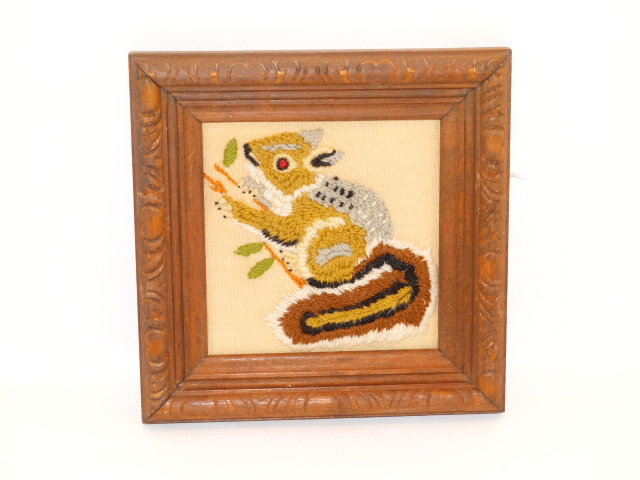 Image 4 of Folk Art Vintage Embroidery Animals Carved Frames