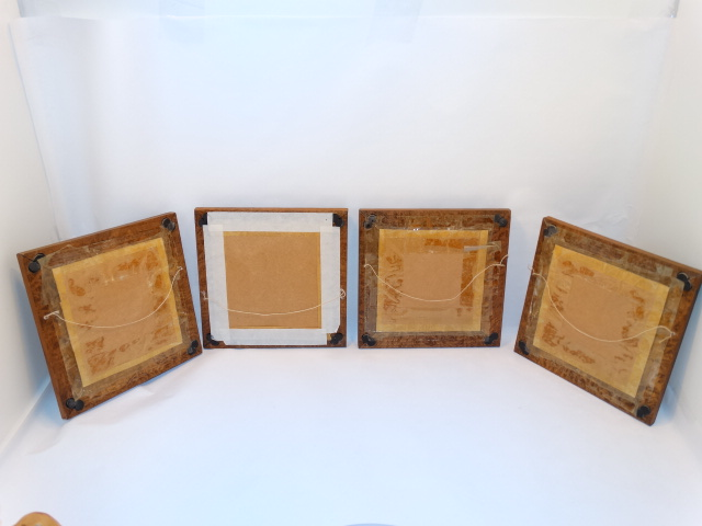 Image 5 of Folk Art Vintage Embroidery Animals Carved Frames