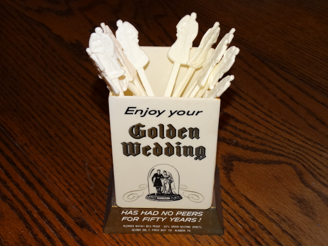 Image 1 of Golden Wedding Swizzle Sticks with Holder Stand 1964