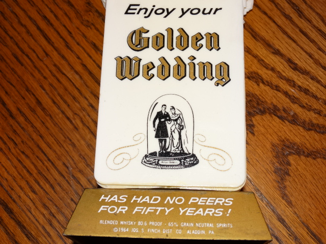 Image 2 of Golden Wedding Swizzle Sticks with Holder Stand 1964