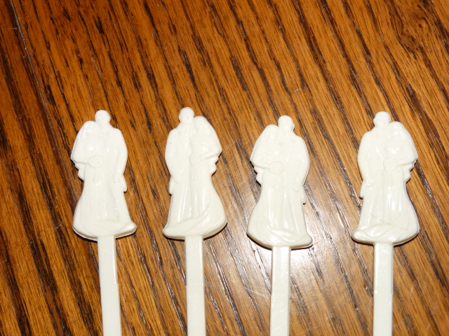 Image 3 of Golden Wedding Swizzle Sticks with Holder Stand 1964