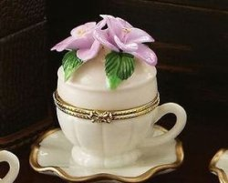 Pink Flower Porcelain Teacup & Saucer Trinket Box