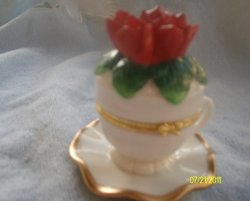 Red Rose Porcelain Teacup & Saucer Trinket Box