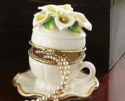 Lily Flower Porcelain Teacup & Saucer Trinket Box