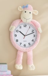 Pink Lucy Lamb Decorative Wall Clock