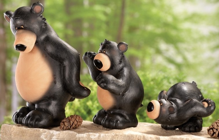 Image 0 of Black Bear Parade Woodland Figurines 3 Pc Set