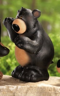 Image 2 of Black Bear Parade Woodland Figurines 3 Pc Set