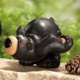 Image 3 of Black Bear Parade Woodland Figurines 3 Pc Set