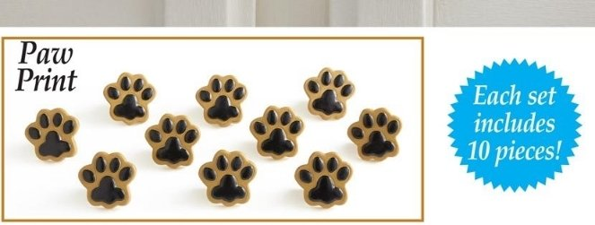 Image 1 of Paw Prints Drawer Pulls  10 Piece