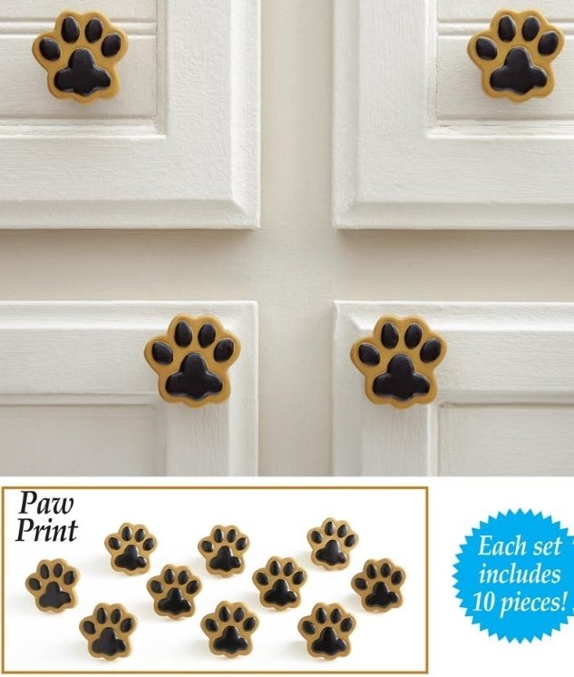 Image 2 of Paw Prints Drawer Pulls  10 Piece