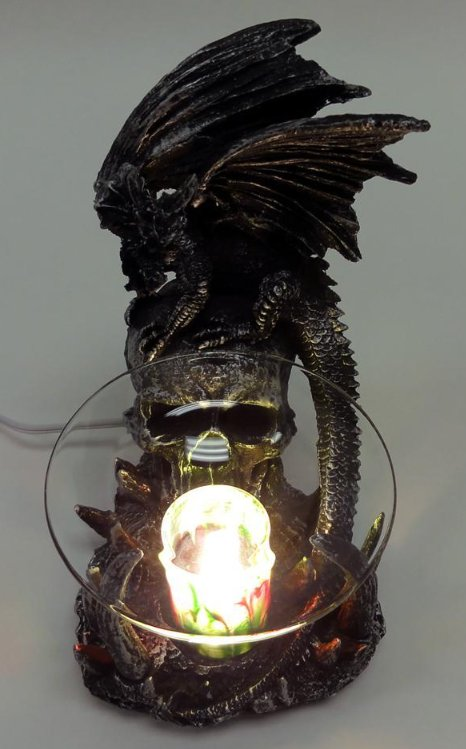 Black Dragon With Skull Polyresin Electric Oil Warmer