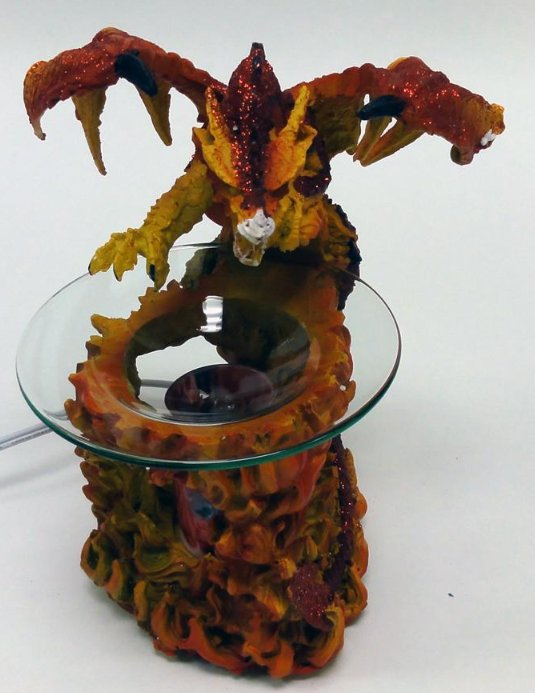 Red dragon with flames polyresin electric oil warmer - Dragon oil warmer ...