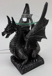 Sitting Poly Resin Dragon with Black Horns Oil Warmer