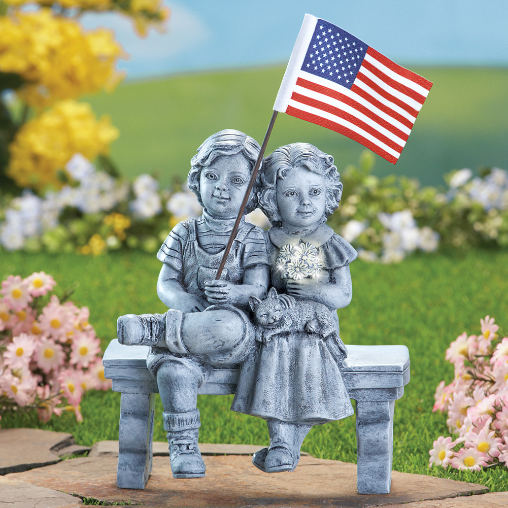 Image 0 of Patriotic Kids on Bench