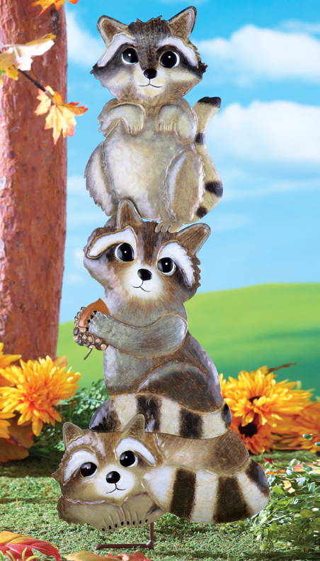 Image 0 of Stacked Raccoons Stake Iron