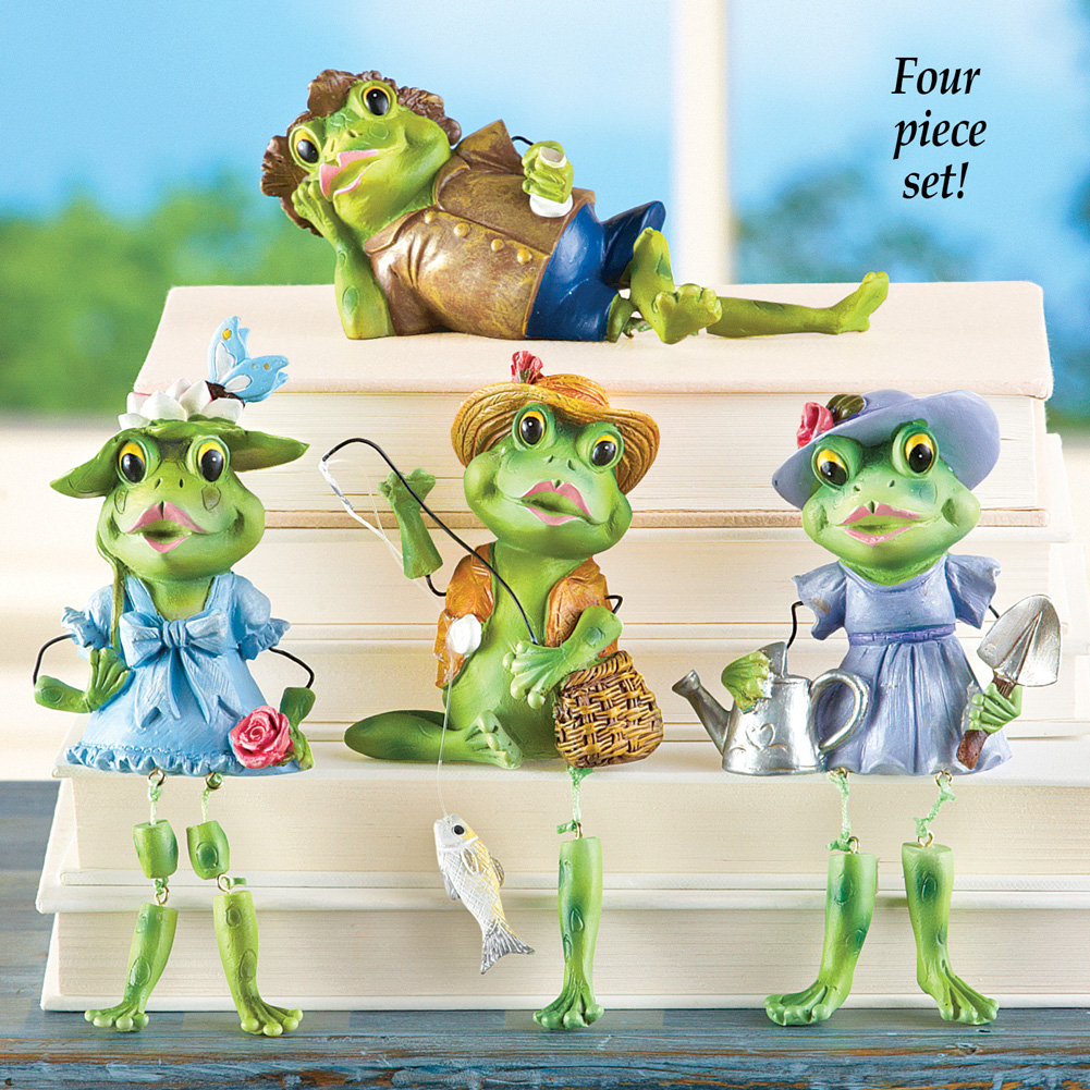Set of 4 Frog Dangling Leg Sitters