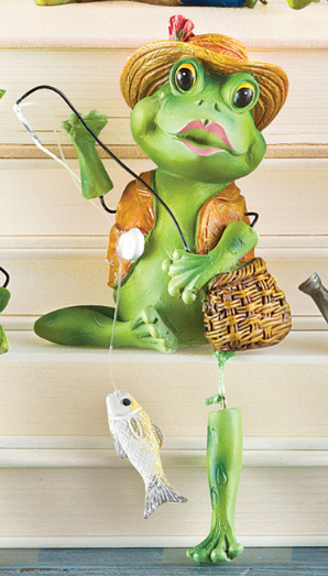 Image 1 of Set of 4 Frog Dangling Leg Sitters