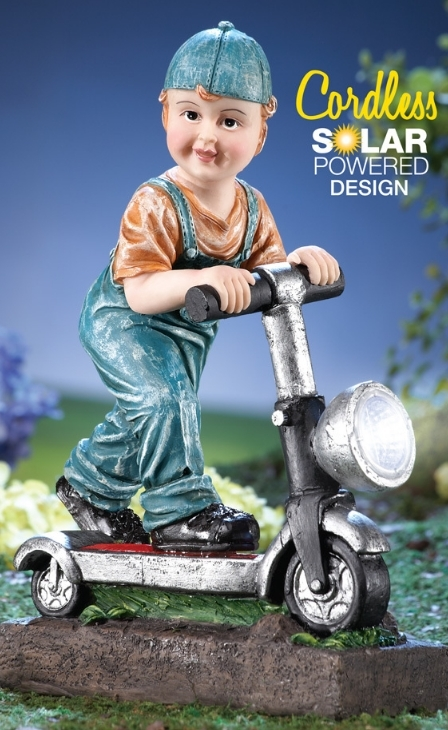 Little Boy with Scooter Solar Garden Statue