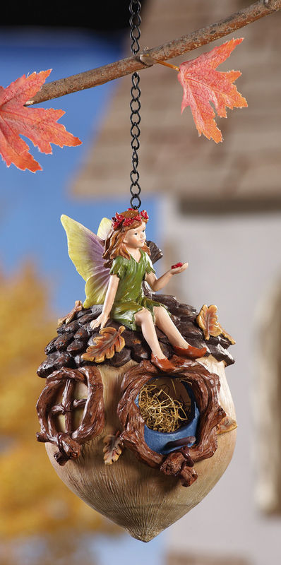 Image 3 of Green Fairy Sitting On Acorn Birdhouse