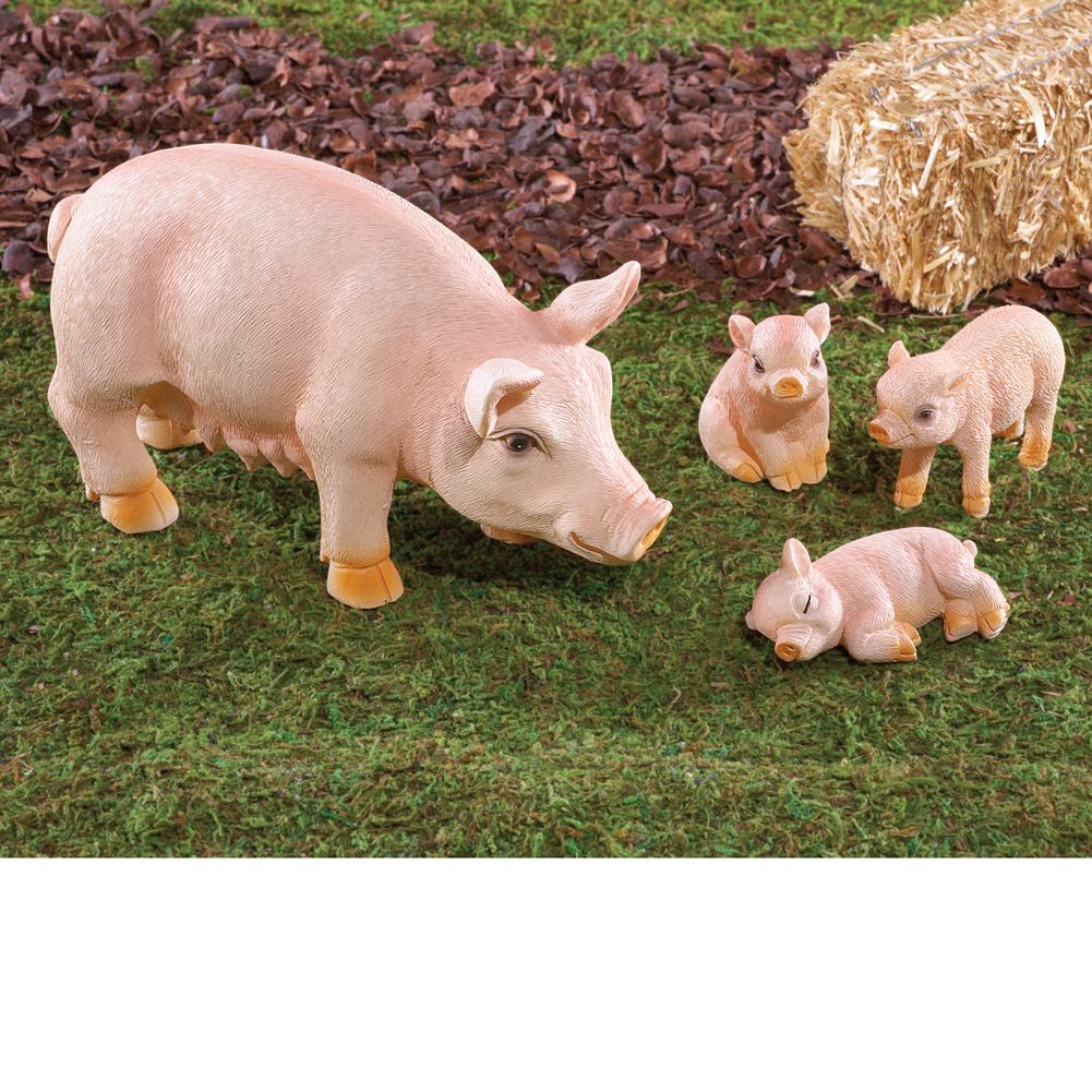 Mama Pig and 3 Piglets Figurines