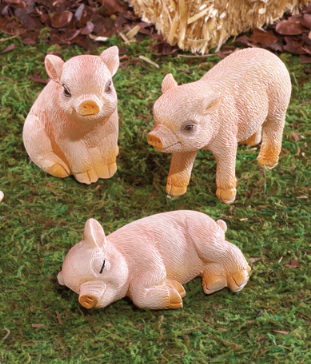 Image 1 of Mama Pig and 3 Piglets Figurines
