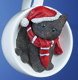 Image 0 of Holiday Santa Black  Cat