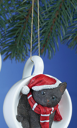 Image 1 of Holiday Santa Black  Cat