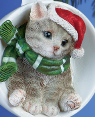 Holiday Santa Grey Cat