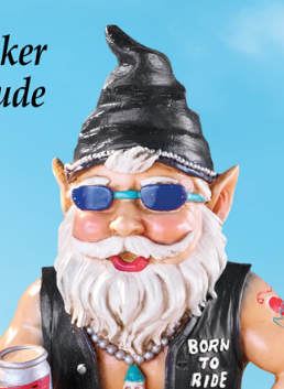 Image 1 of Biker Dude Garden Gnome