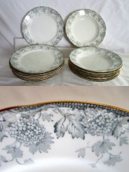 Sampson Bridgwood China Naples Dinner Plates and Soup Bowls 1891