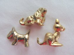miniature collectible brass animal lot 3 pieces