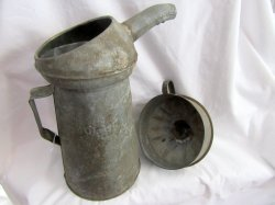 gas station oil pouring can and funnel vintage