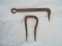 antique iron hardware 7 inch latch and 4 inch staple hand forged