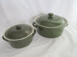 Hall Pottery China Forest Green Lidded Casseroles 1 Qt. and 1 Pt.